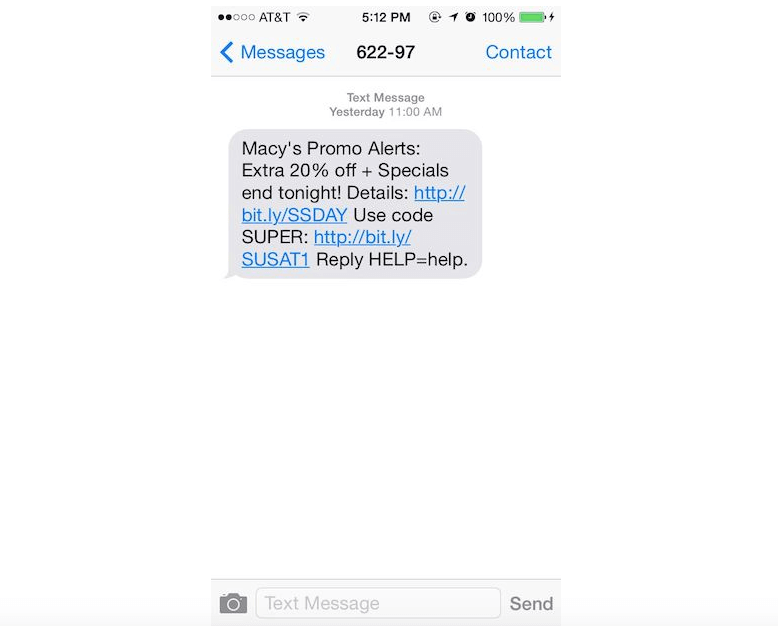 black friday SMS promo messages