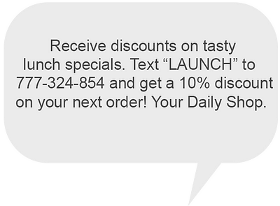 SMS and MMS: promo message example