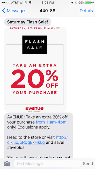 discount SMS message