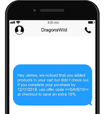 abandoned cart sms