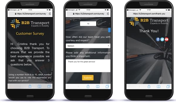 B2B Transport Customer Survey for touchpoint marketing